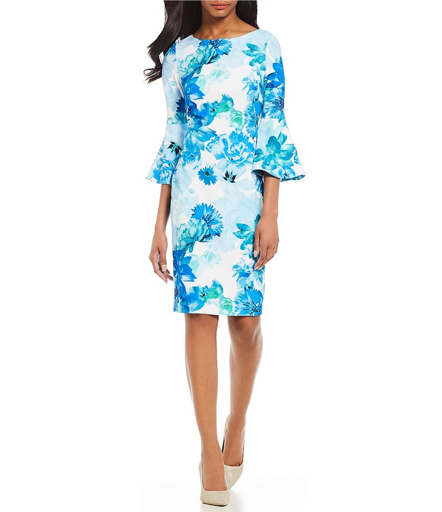 Calvin Klein Scuba Crepe Floral Print Bell Sleeve Sheath Dress