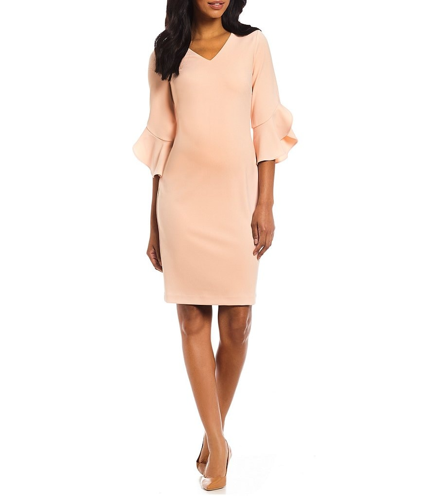 Calvin Klein Scuba Crepe V-Neck Ruffle Cuff Bell Sleeve Sheath Dress