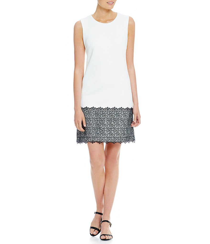 Calvin Klein Scuba Sheath Lace Trim Dress