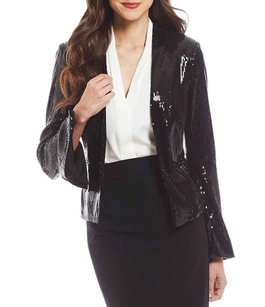 Calvin Klein Sequin Bell-Sleeve Shrug