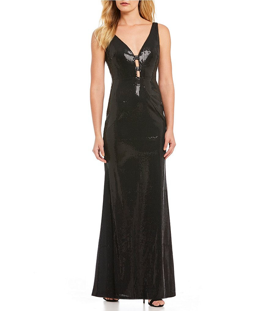 Calvin Klein Sequined Deep V-Neck Gown