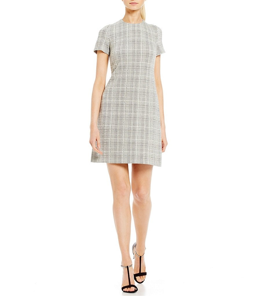 Calvin Klein Short-Sleeve Plaid Shift Dress