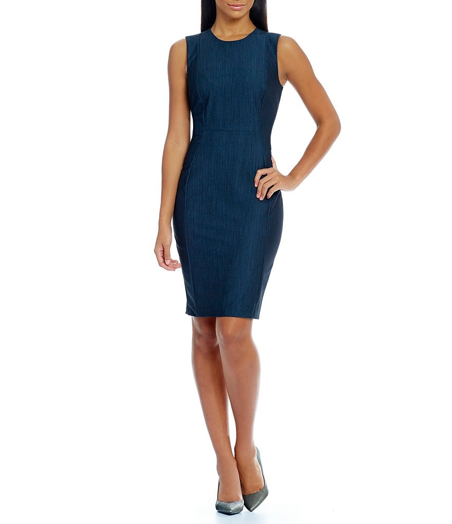 Calvin Klein Sleeveless Denim Sleeveless Sheath Dress