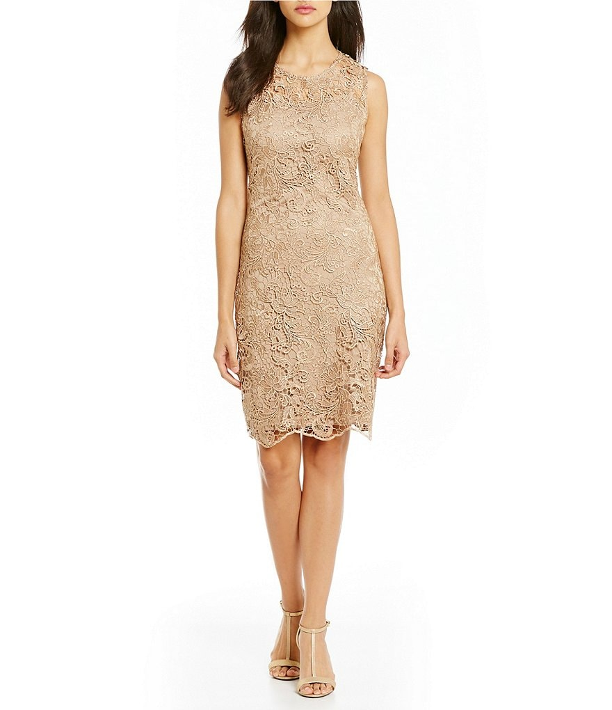 Calvin Klein Sleeveless Illusion Lace Sheath Dress