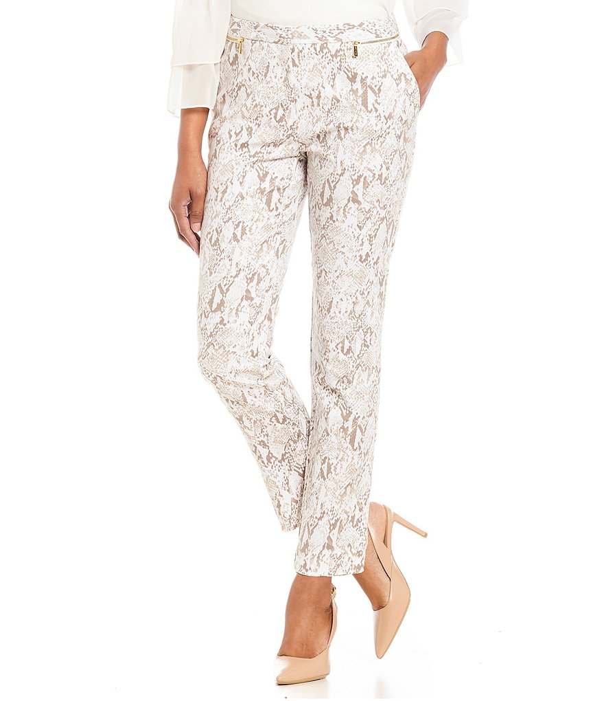 Calvin Klein Snakeskin Print Stretch Cotton Ankle Pants