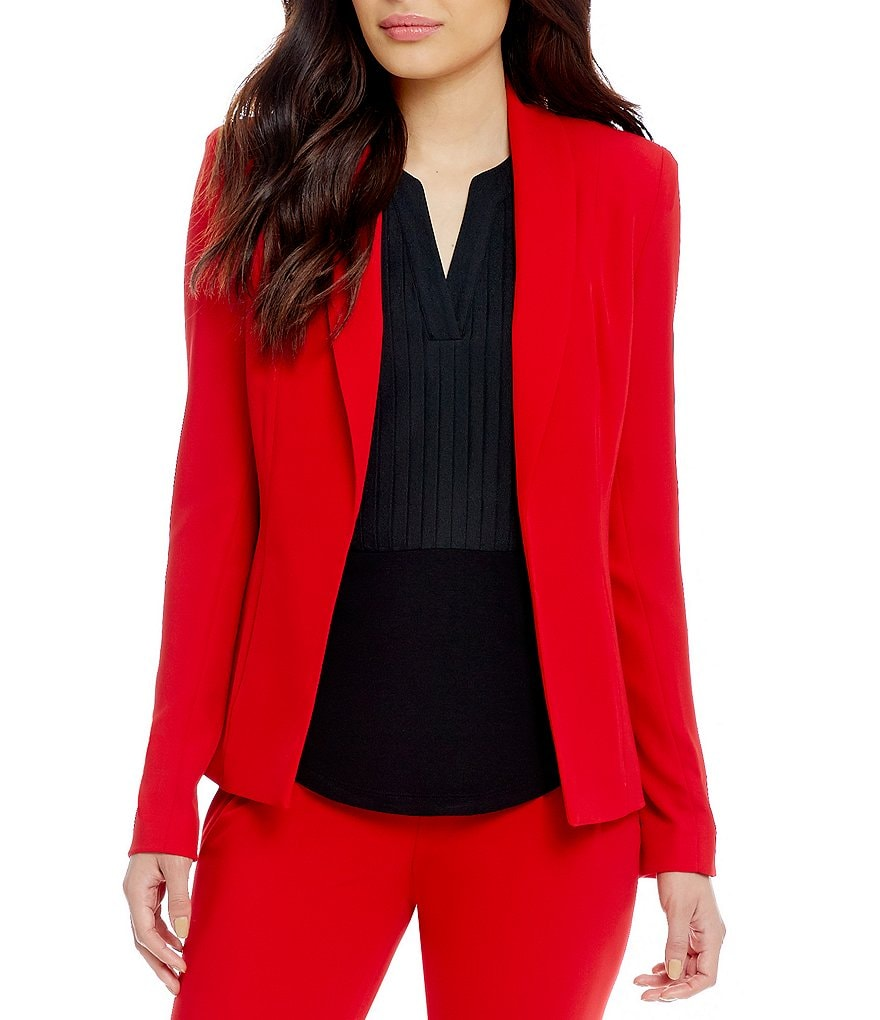Calvin Klein Soft Suiting Shawl Collar Open Front Jacket