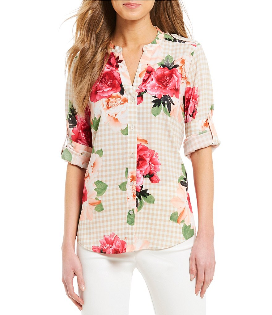 Calvin Klein Spring Rose Gingham Floral Print Roll-Sleeve Blouse