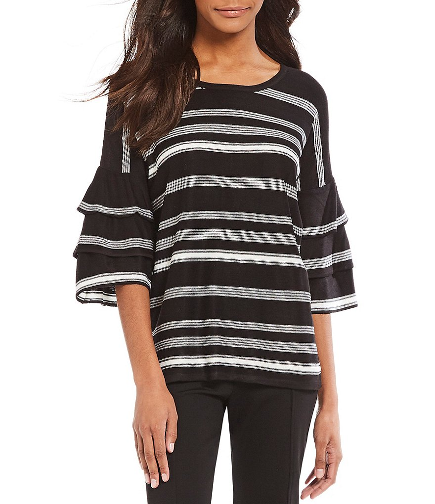 Calvin Klein Stripe Fine Gauge Knit Tiered Ruffle Bell Sleeve Top