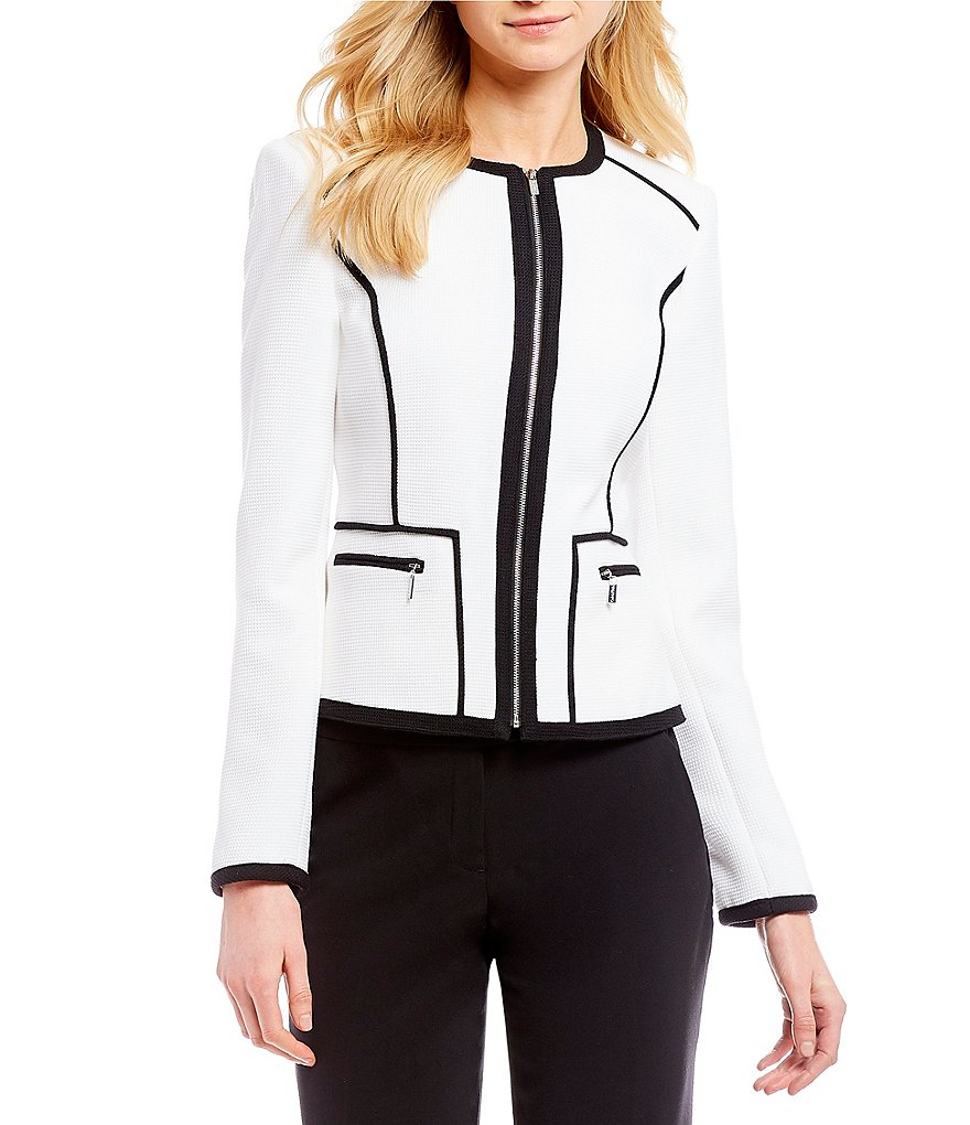 Calvin Klein Textured Pique Knit Suiting Contrast Pipe-Trim Zip-Front Jacket