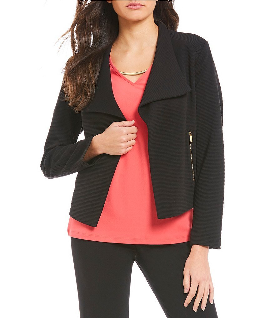 Calvin Klein Textured Rib Knit Open Front Jacket