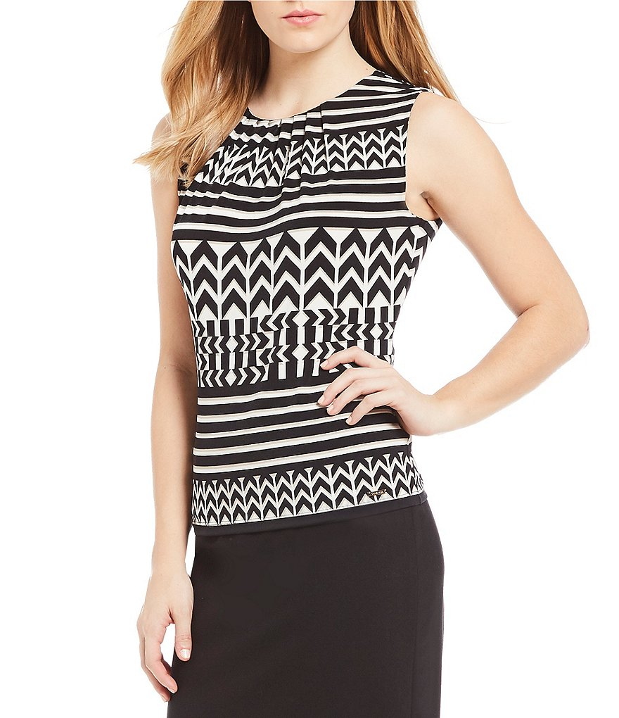 Calvin Klein Tribal Stripe Print Matte Jersey Pleat Neck Shell