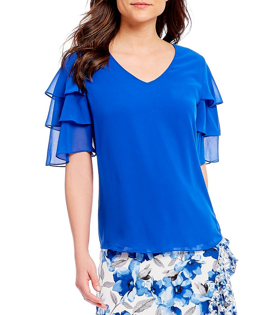 Calvin Klein V-Neck Tiered Ruffle Short Tiered Sleeve Top