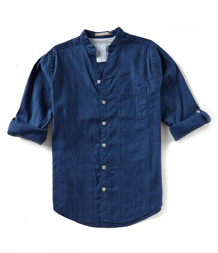 Caribbean Big and Tall Solid Linen Long-Sleeve Woven Shirt