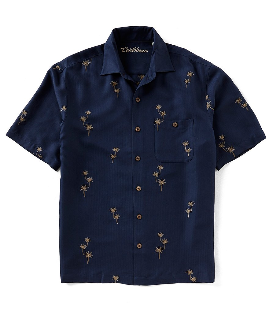 Caribbean Emrboidered Palms Print Short-Sleeve Woven Shirt