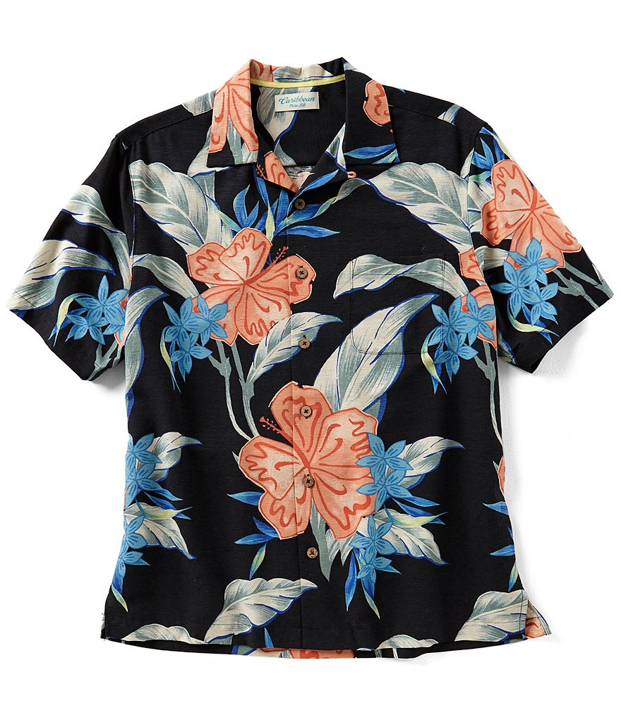 Caribbean Large Floral Print Short-Sleeve Woven Shirt
