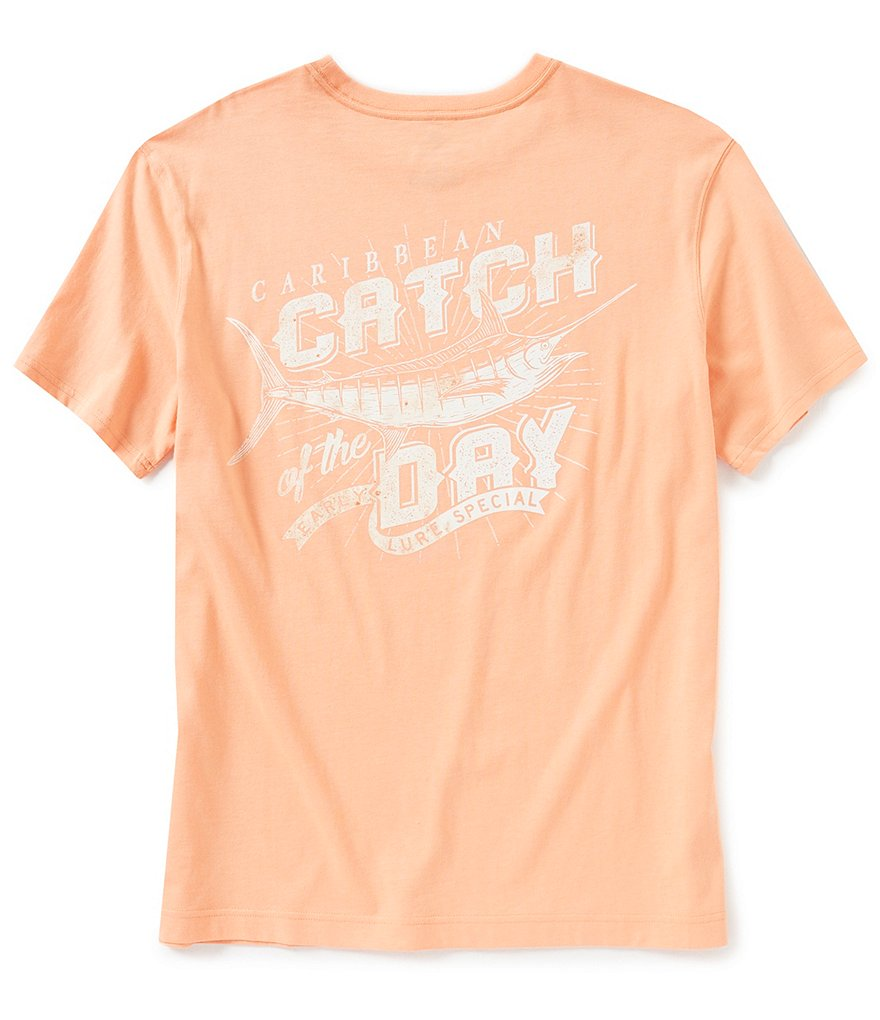 Caribbean Short-Sleeve Crew Neck Catch Of The Day Screen Print Graphic Tee