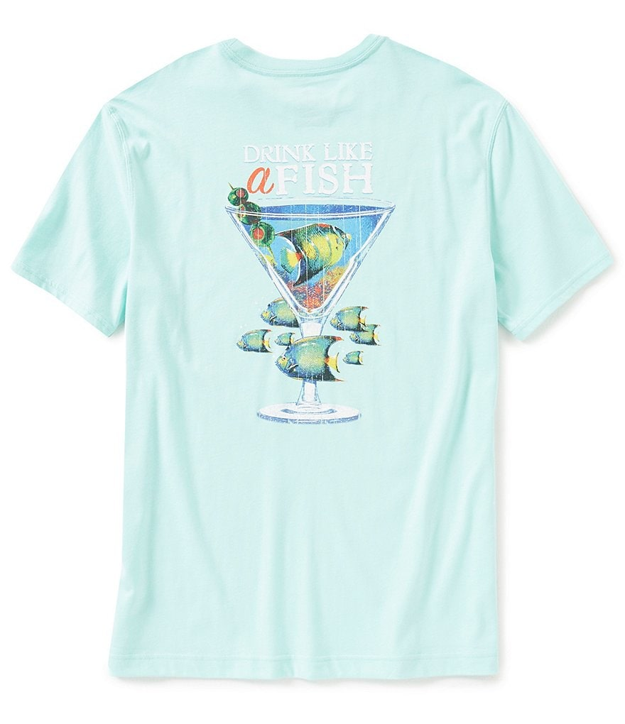 Caribbean Short-Sleeve Crew Neck Drink Like A Fish Screen Print Graphic Tee