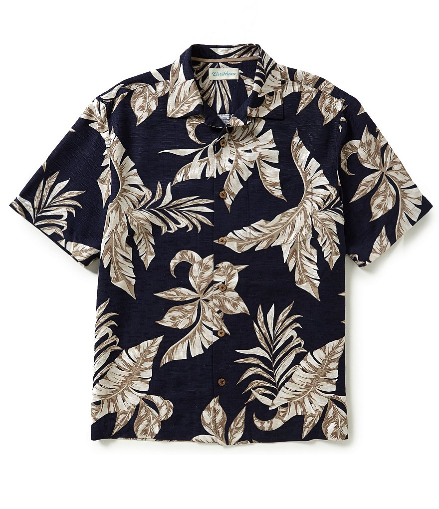 Caribbean Short-Sleeve Silk Leaf Print Camp Shirt