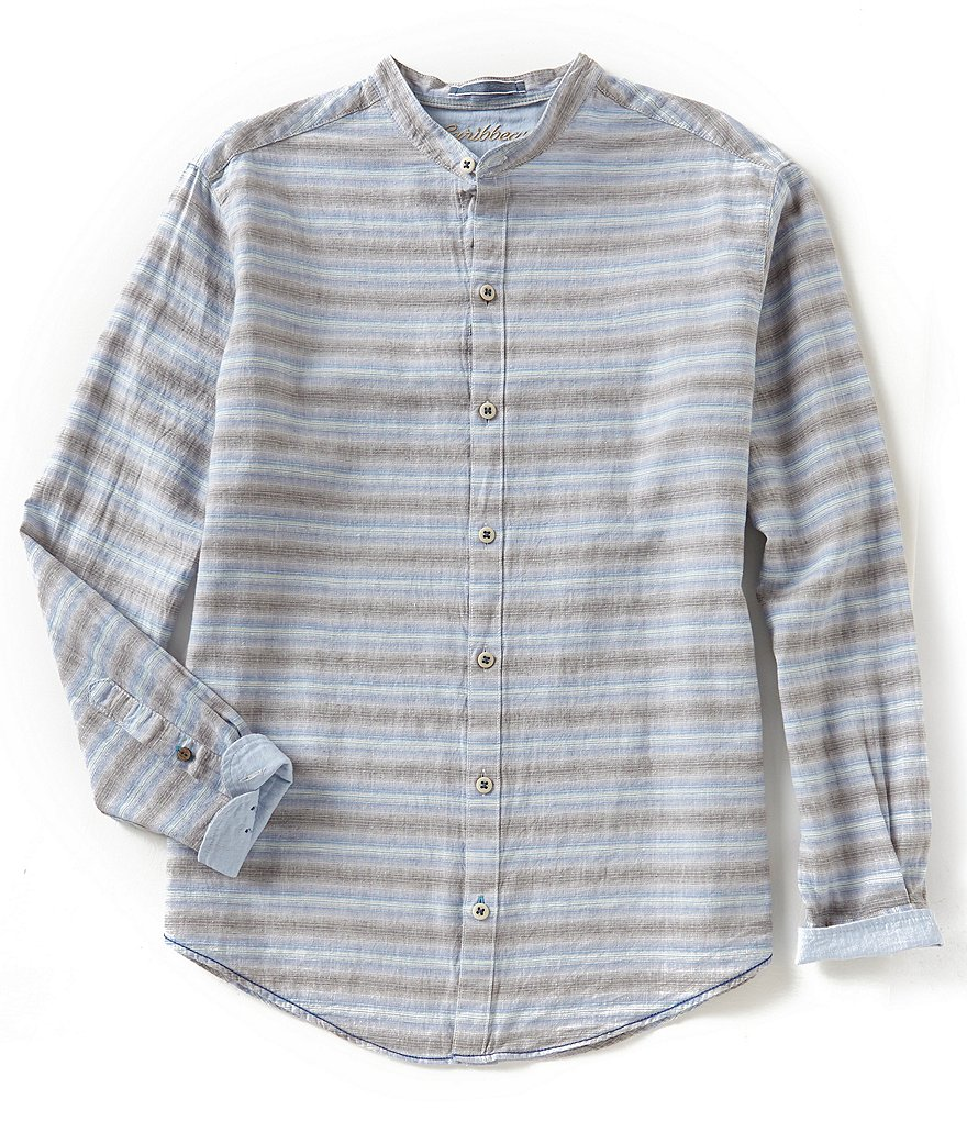 Caribbean Stripe Linen Long-Sleeve Woven Shirt