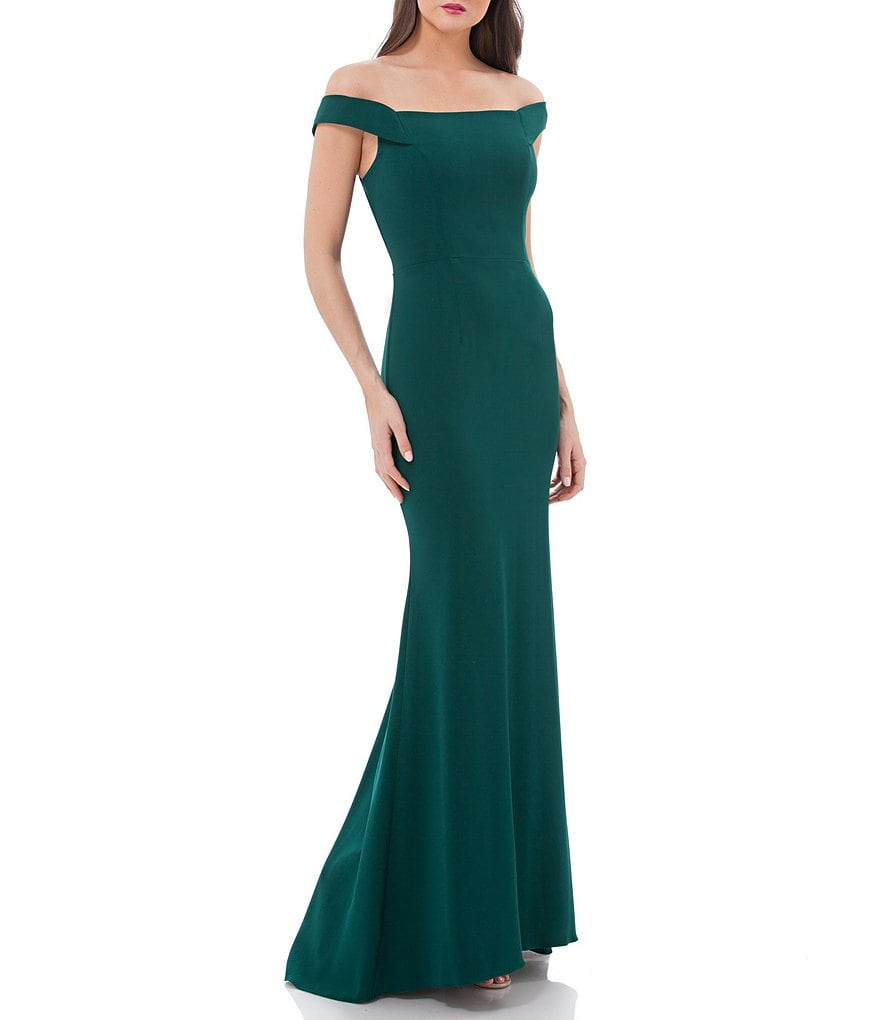 Carmen Marc Valvo Infusion Off-the-Shoulder Stretch Crepe Gown