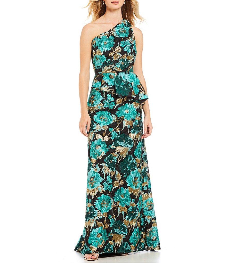 Carmen Marc Valvo Infusion One Shoulder Floral Print Organza Gown ...