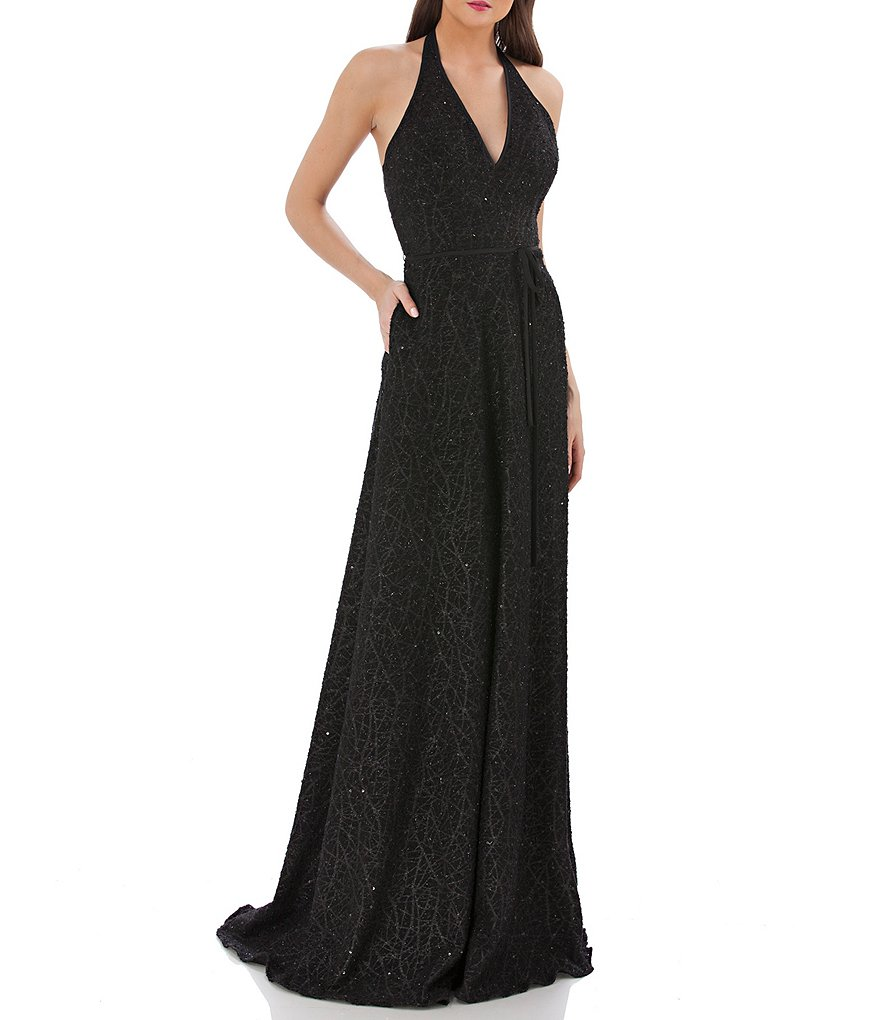 Carmen Marc Valvo Infusion Plunging V-Neck Sequin Gown