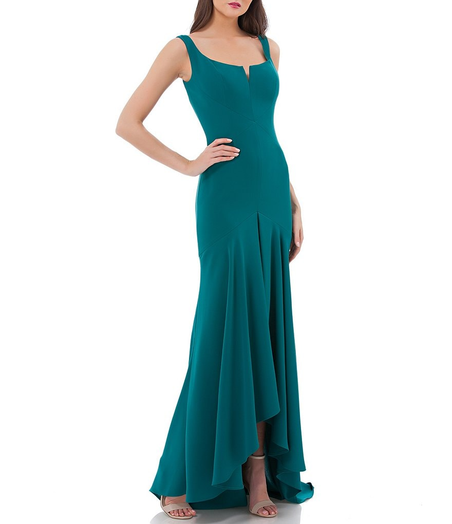 Carmen Marc Valvo Infusion Scoop Neck Hi Lo Gown