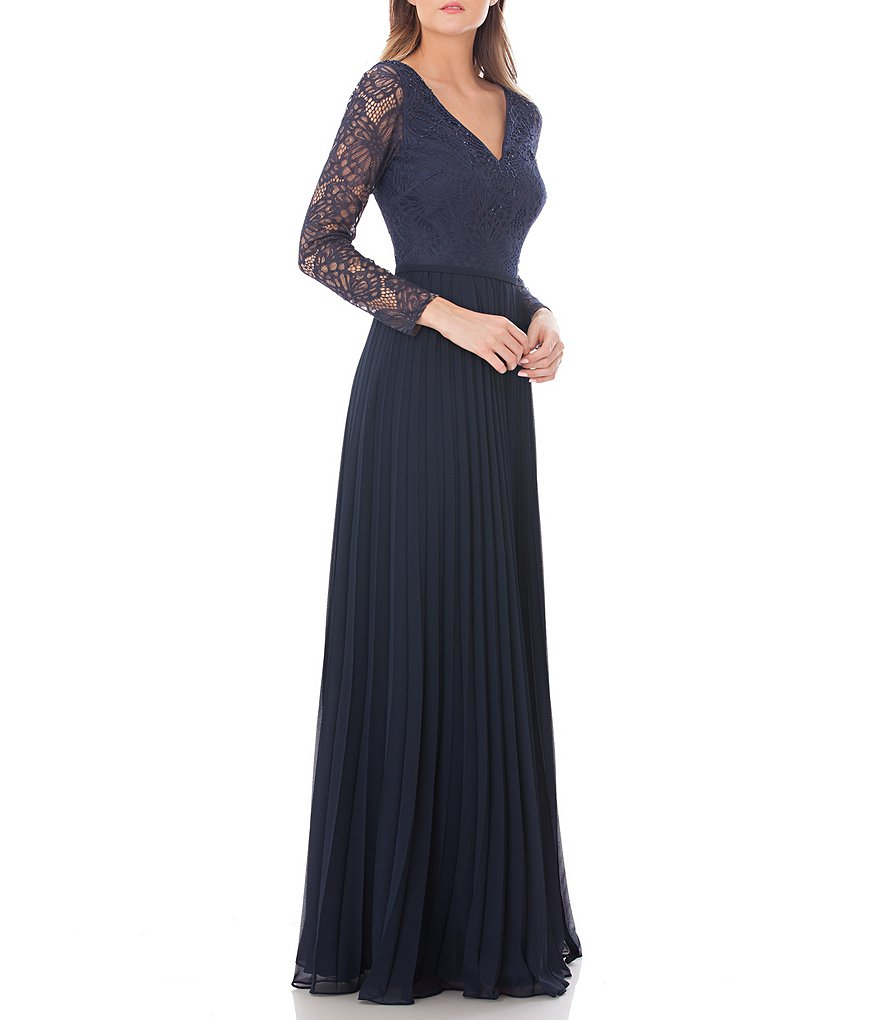 Carmen Marc Valvo Infusion V-Neck Lace Pleated Gown