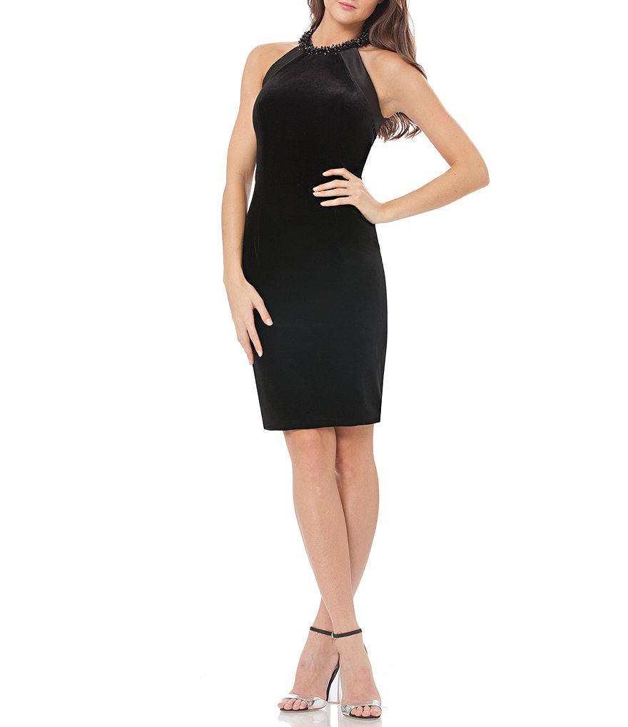 Carmen Marc Valvo Infusion Velvet Halter Sheath Dress