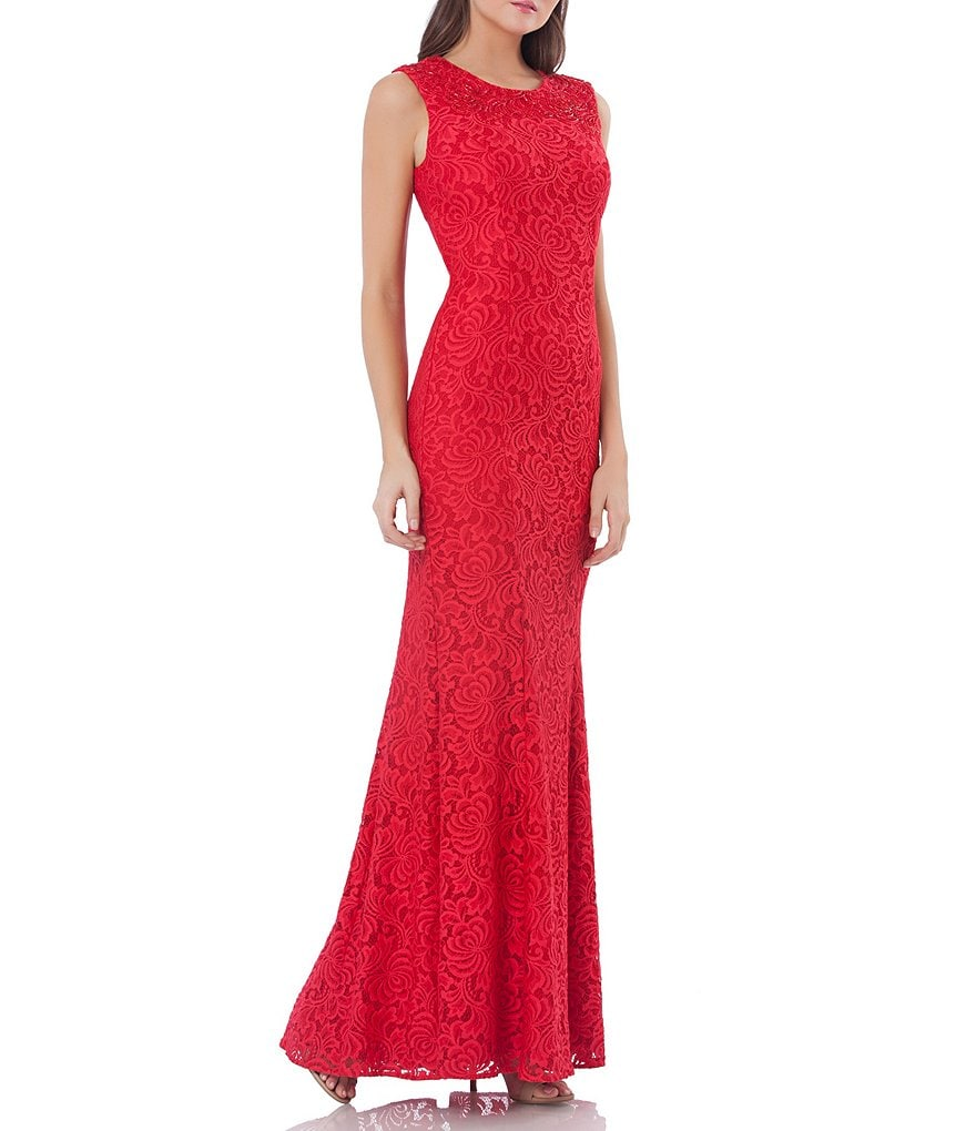 Carmen Marc Valvo Jewel Neck Infusion Lace Gown
