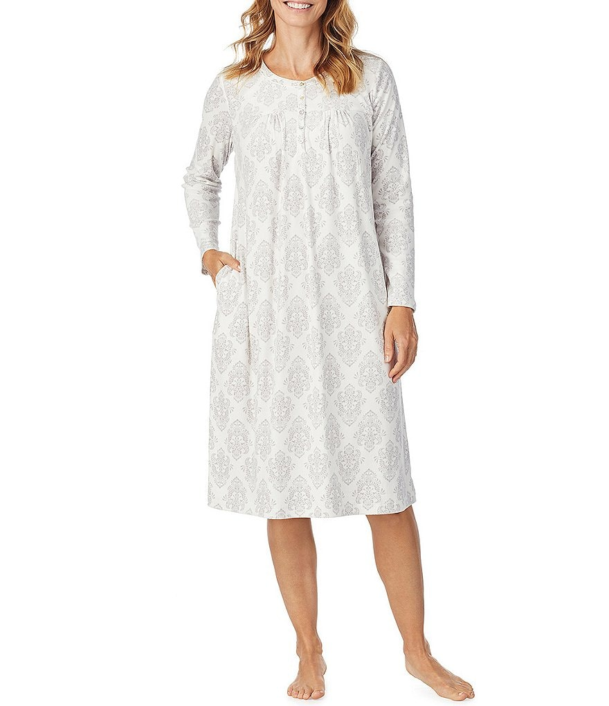 Carole Hochman Damask-Printed Cozy Fleece Waltz Nightgown