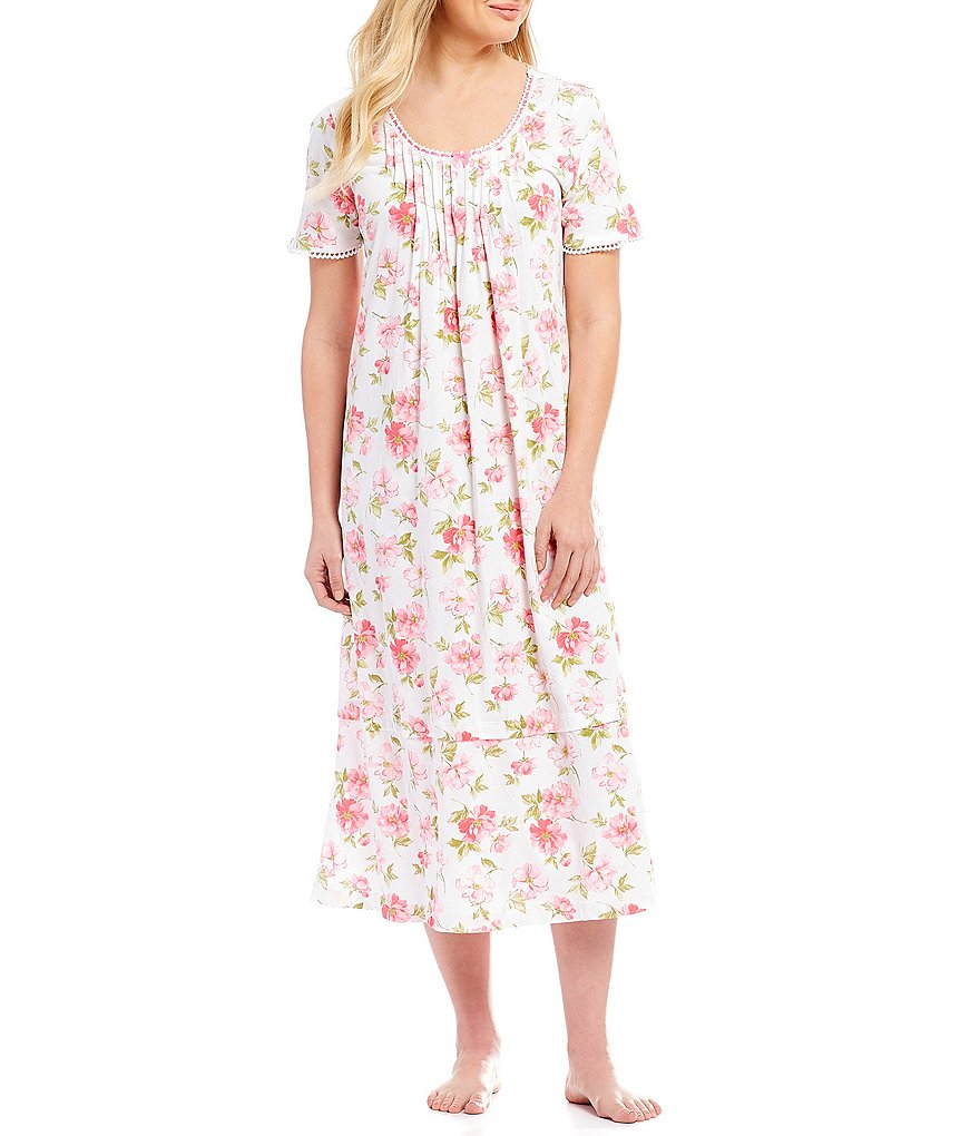 Carole Hochman Floral-Print Jersey Long Nightgown