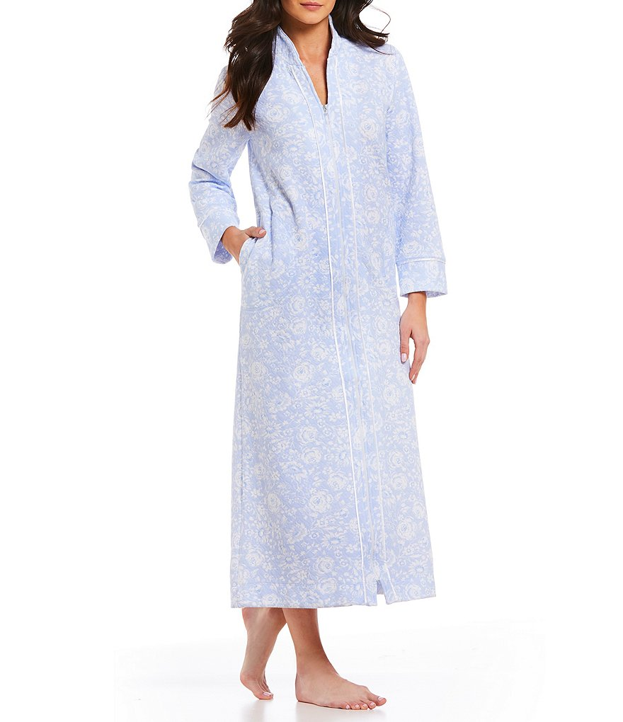Carole Hochman Floral-Print Quilted Zip-Front Long Robe