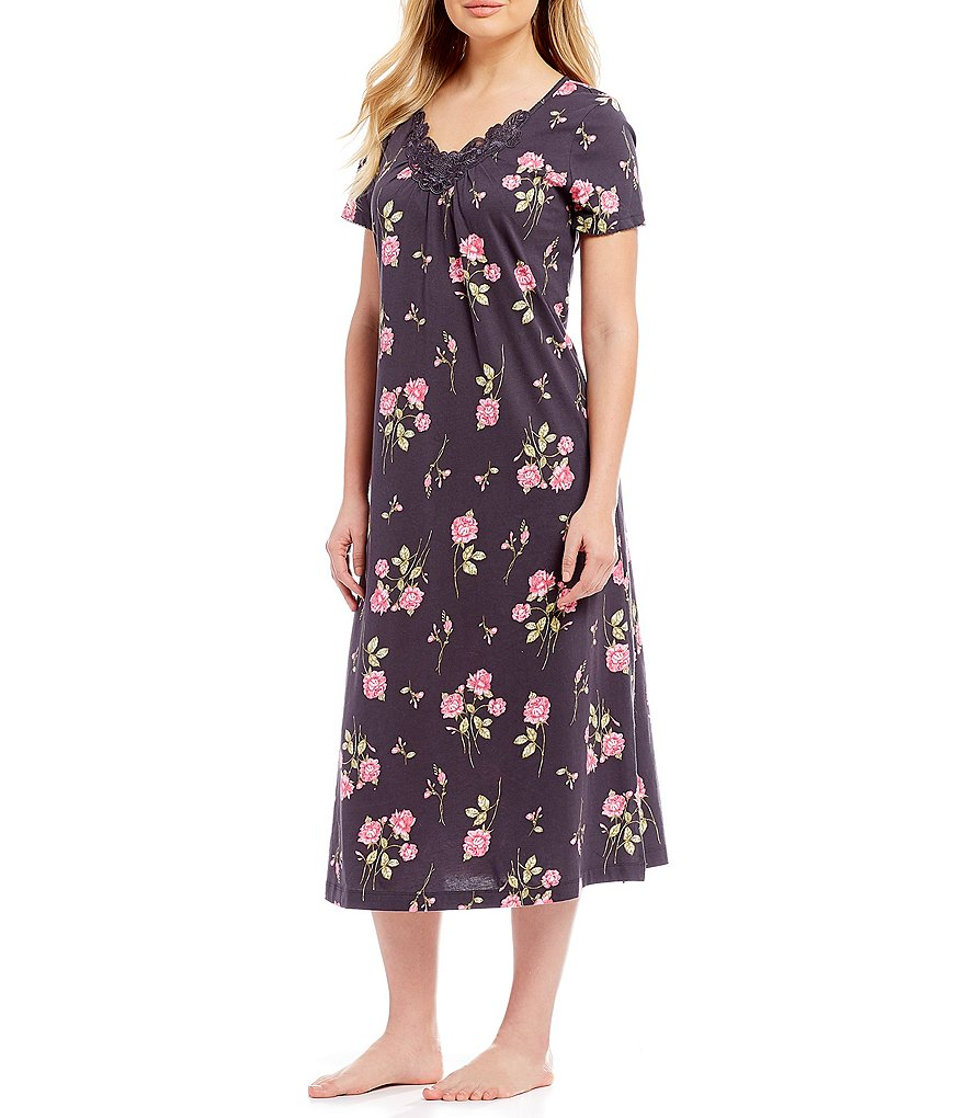 Carole Hochman Floral-Printed Jersey Long Nightgown