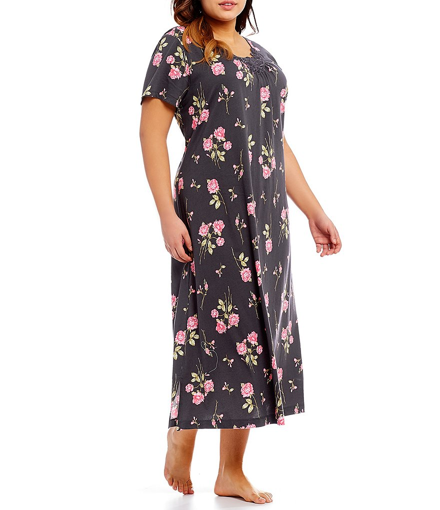 Carole Hochman Plus Floral Jersey Nightgown