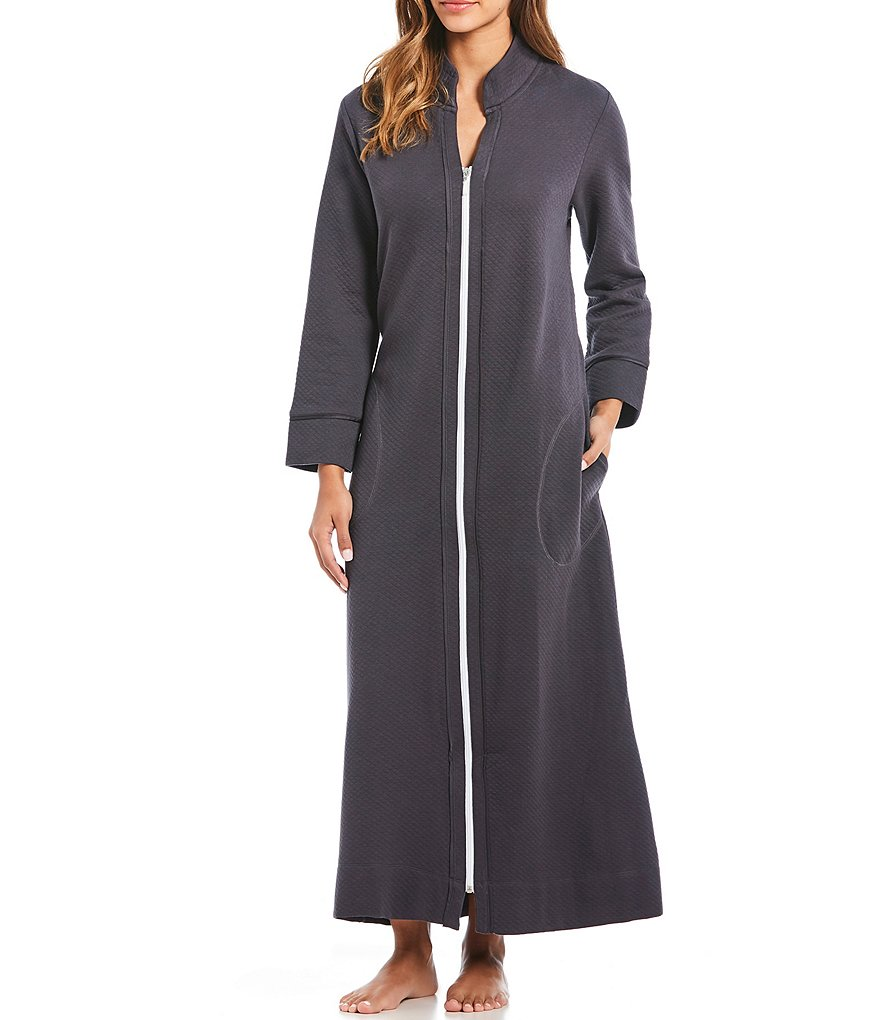 Carole Hochman Solid Diamond Quilted Zip-Front Long Robe