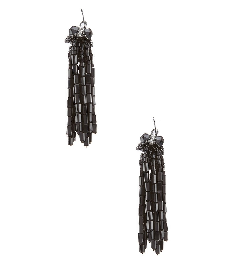Carolee Midnight Tower Beaded Tassel Statement Earrings