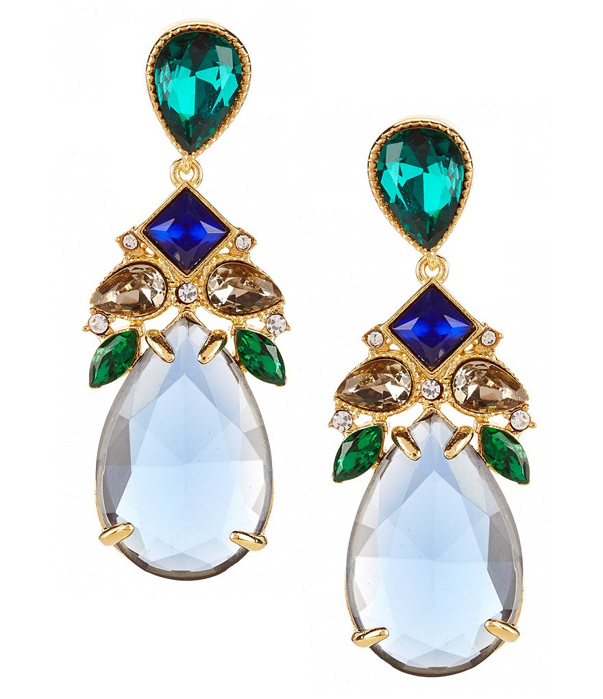 Carolee Pacific Gala Clip-On Teardrop Statement Earrings