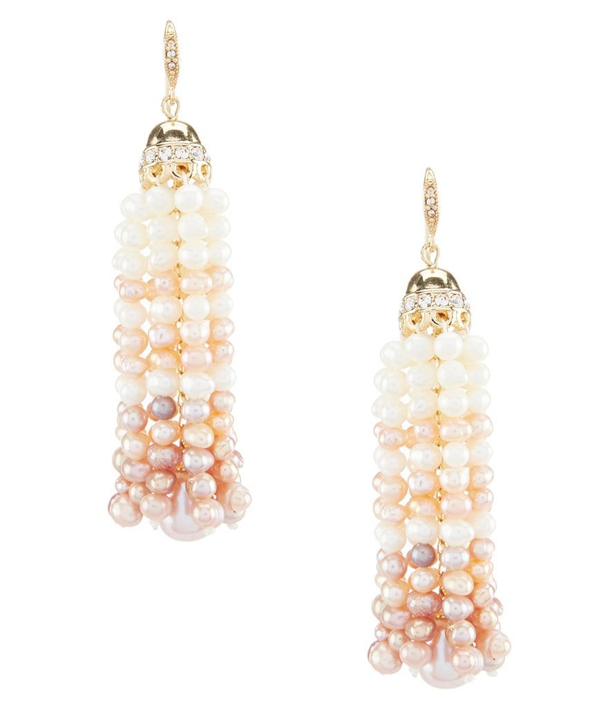 Carolee Petals and Pearls Tassel Statement Earrings