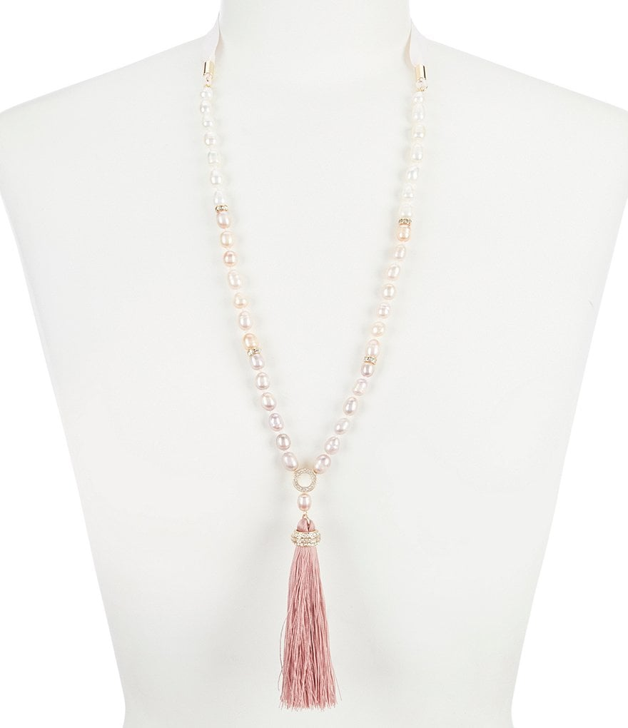 Carolee Petals and Pearls Tassel Necklace with Grosgrain Ribbon Tie