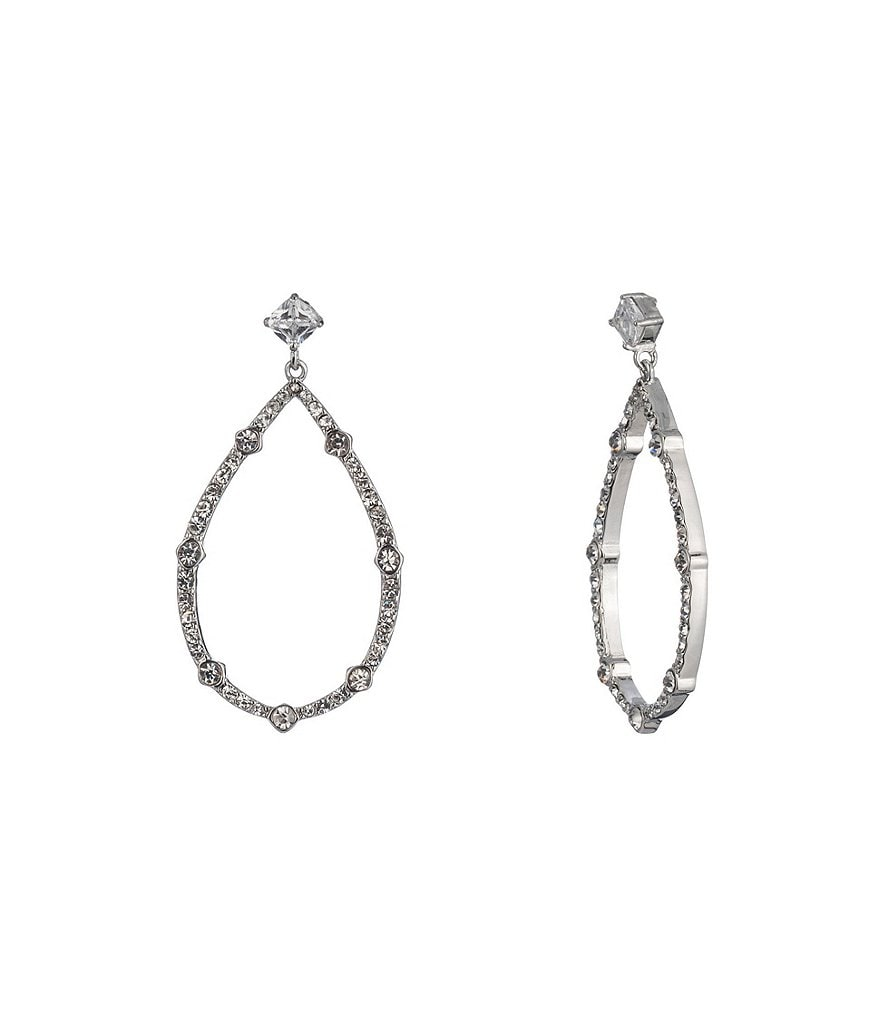 Carolee Social Soiree CZ Pear Shaped Gypsy Hoop Statement Earrings