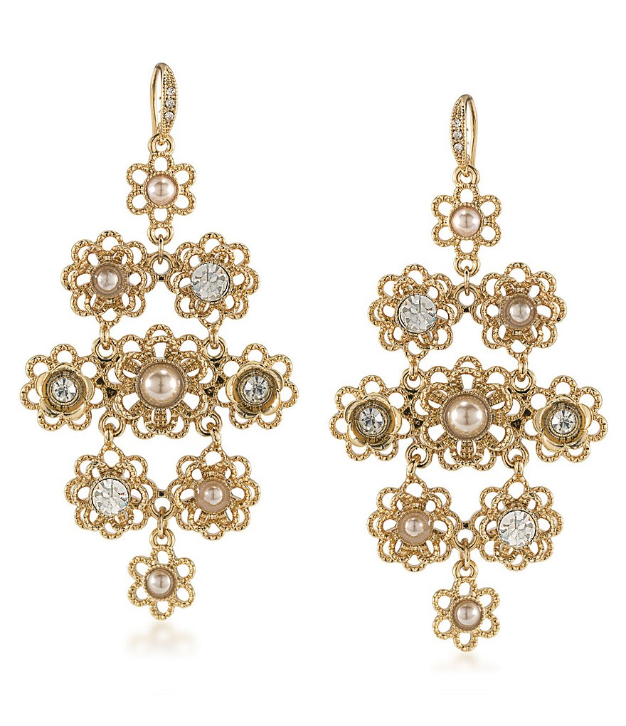 Carolee Union Square Faux-Pearl Chandelier Statement Earrings