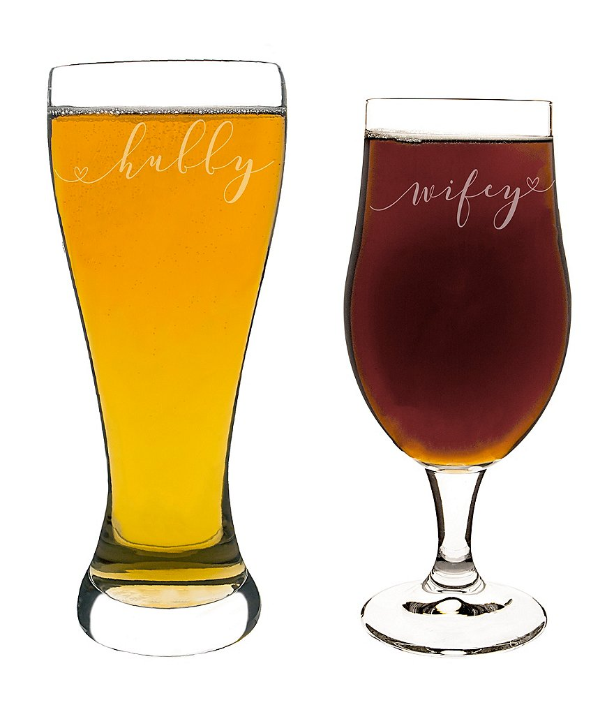 Cathy's Concepts Hubby & Wifey Pilsner Glass Set