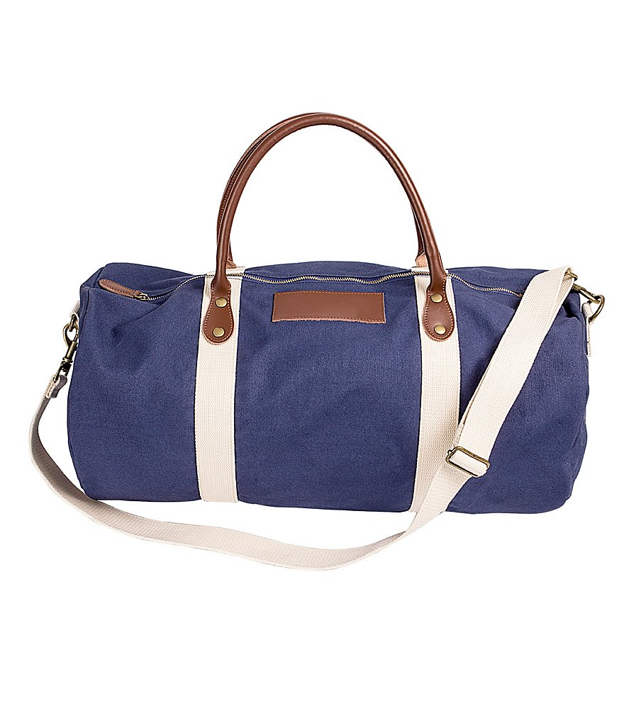 Cathy's Concepts Initial Canvas & Leather Duffel Bag