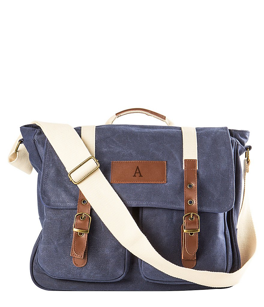 Cathys Concepts Initial Canvas Messenger Bag