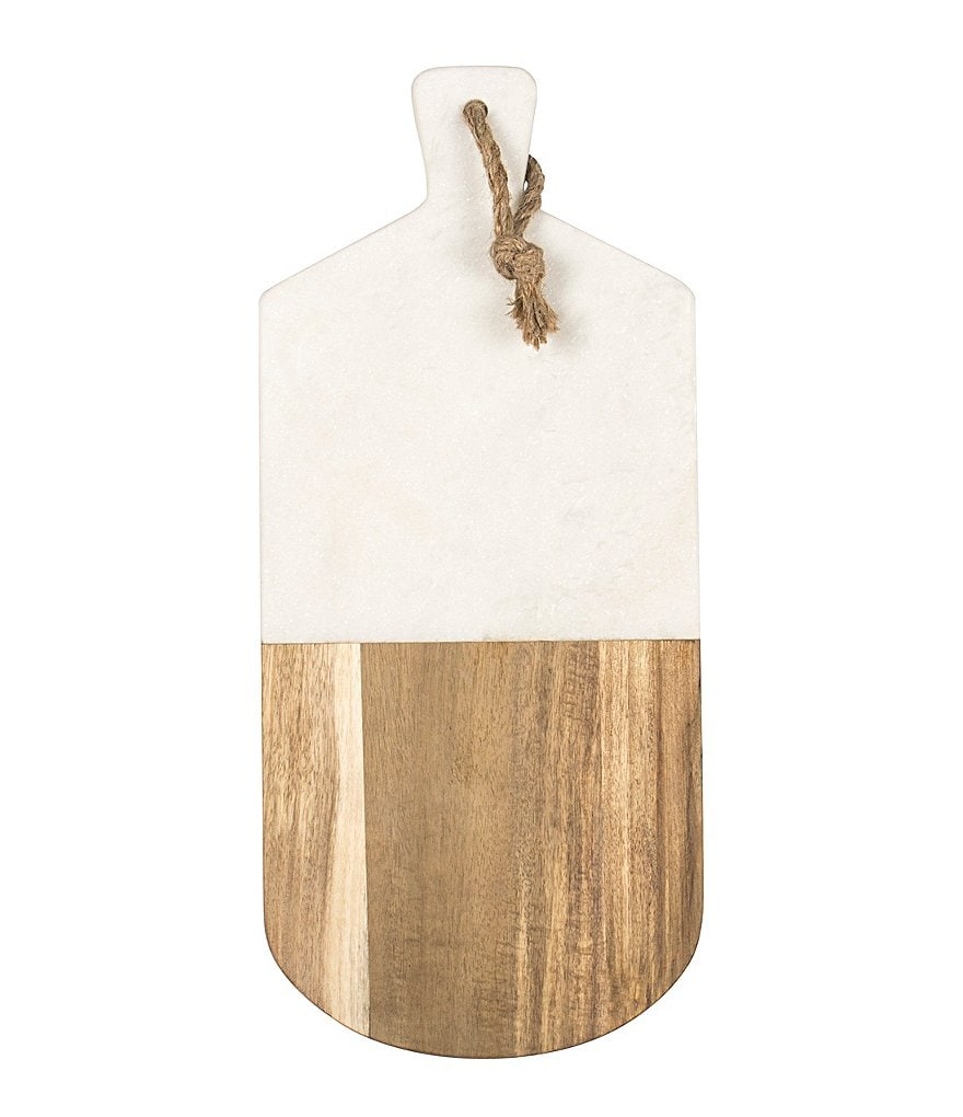 Cathys Concepts Initial Marble & Acacia Wood Serving Board