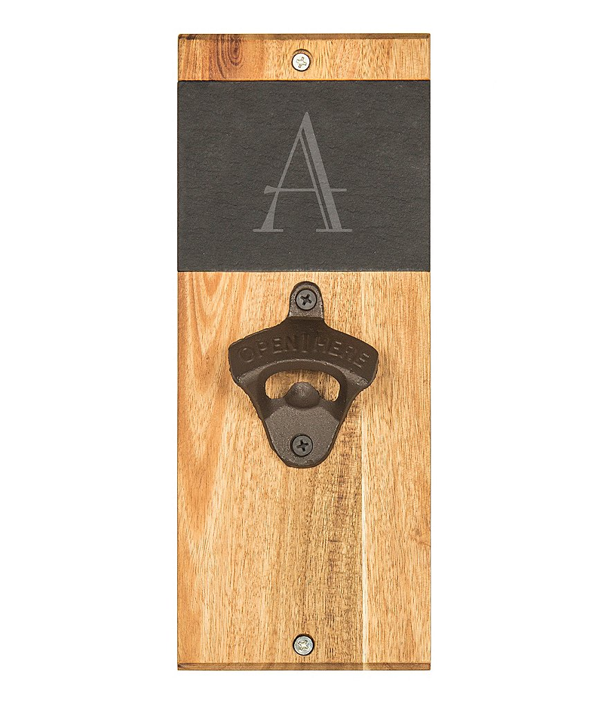 Cathys Concepts Initial Slate & Acacia Wood Wall-Mount Bottle Opener