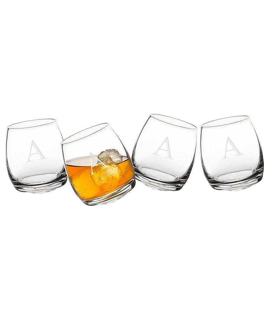 Cathy's Concepts Initial Tipsy Whiskey Glasses, Set of 4