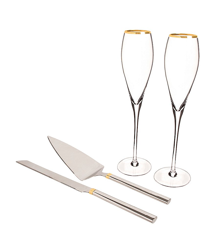 Cathy\'s Concepts Initial Wedding Champagne Flutes & Cake Serving Set ...