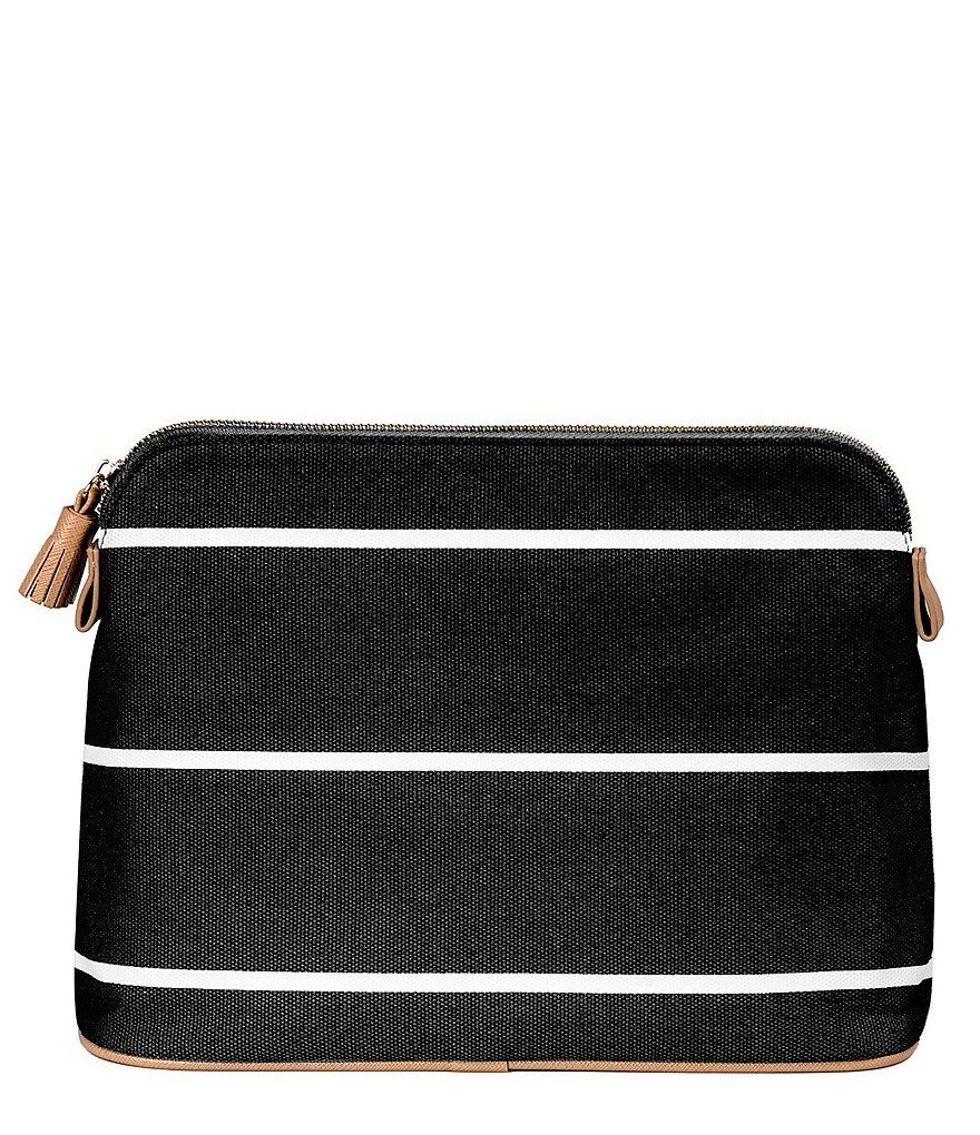 Cathy´s Concepts Tasseled Initial-Embroidered Striped Canvas Cosmetic Bag